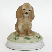 Porcelain SPANIEL PUPPY DOG music figurine