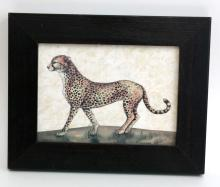 Vintage Leopard color print in wooden frame covered with glass