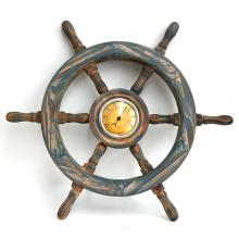 Wooden wall thermometer in shape of SHIP WHEEL
