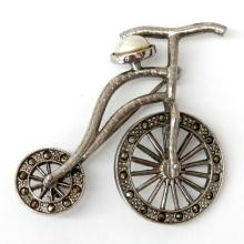 Silver tone BICYCLE shape pin brooch with marcasites and oval white faux pearl