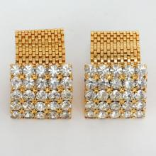 Prongs set white rhinestones and gold plated mesh from sides cufflinks
