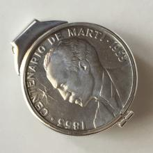 Sterling silver money clip with .999 REPUBLICAN DE CUBA CENTENARIO THE MARTI COIN dated 1853-1953