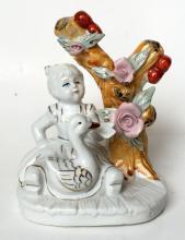 Vintage porcelain GIRL WITH GOOSE UNDER TREE figurine statuette