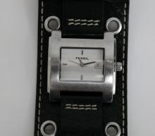 Stainless steel satin finish rectangular FOSSIL DATE model JR-8148 watch with original genuine leather band