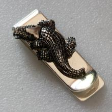 Crocodile Money Clip Sterling Silver oxidized, made in Italy