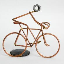 Cooper wire hand made figurine RIDER ON BICYCLE