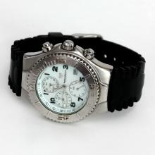 Stainless steel satin finish TechnoMarine SPORT Chronograph Date watch with original black rubber band