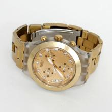 Gold plated stainless steel satin finish SWATCH Swiss Date Chronograph AG 2005 watch with original bracelet