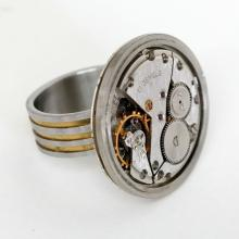 Stainless steel 2 tone hand made ring with real round watch 17 jewels moving inside mechanism on front and dial from behind