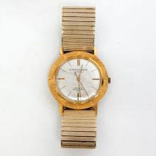 Vintage gold plated round men's S.NETKIN & SONS 21 jewels SWISS INCABLOC Antimagnetic P.R. watch with stretchable bracelet