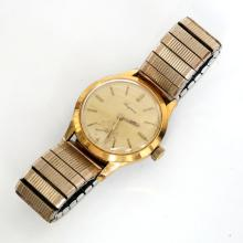Vintage gold plated round unisex LUGRAN SWISS made watch with stretchable bracelet