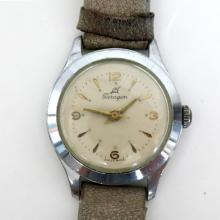 Vintage silver tone round unisex PARAGON SWISS made watch with genuine leather band