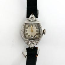 Antique Vintage silver tone embellished case diamonds ladies BULOVA Swiss watch with genuine Calf leather band