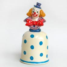 Porcelain vivid colors with blue polka dots CLOWN BELL figurine, statuette, Japan