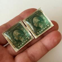 Silver tone antique Green Washington 1 cent used stamps cufflinks