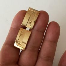 SWANK: Rectangular shape shiny and diamond cut finish cufflinks, signed