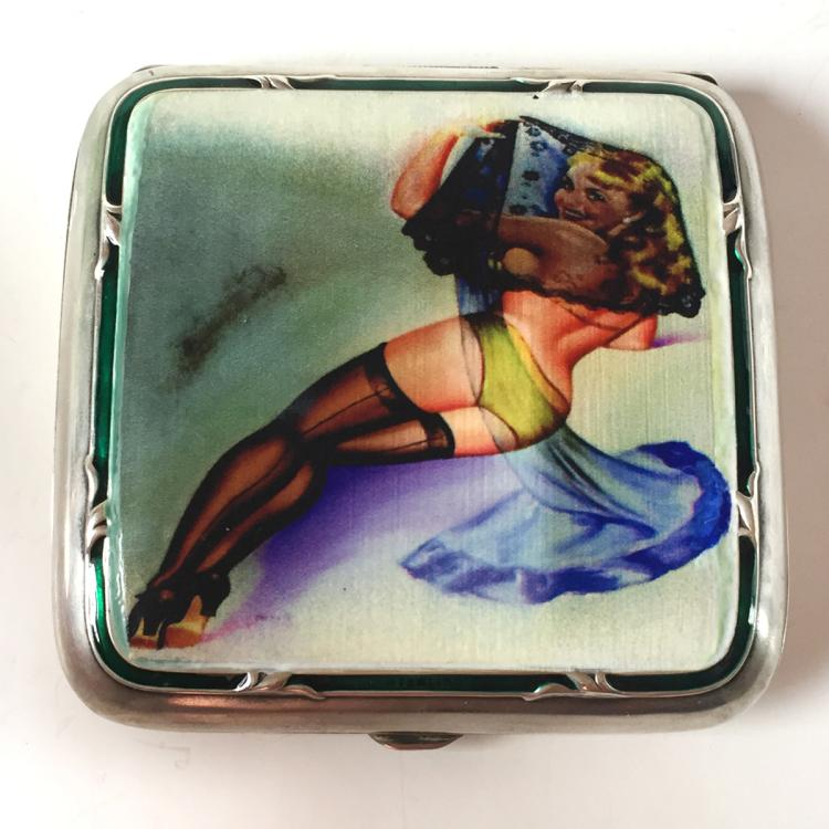 Sterling silver square waved cigarette case with green enamel and custom transferred picture on lid