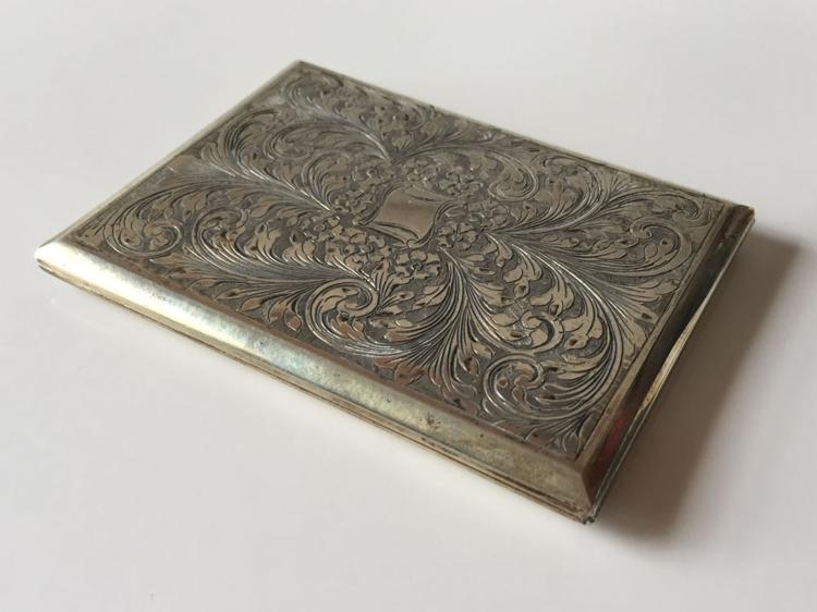 Vintage oxidised sterling silver cigarette case etched with floral design from both sides