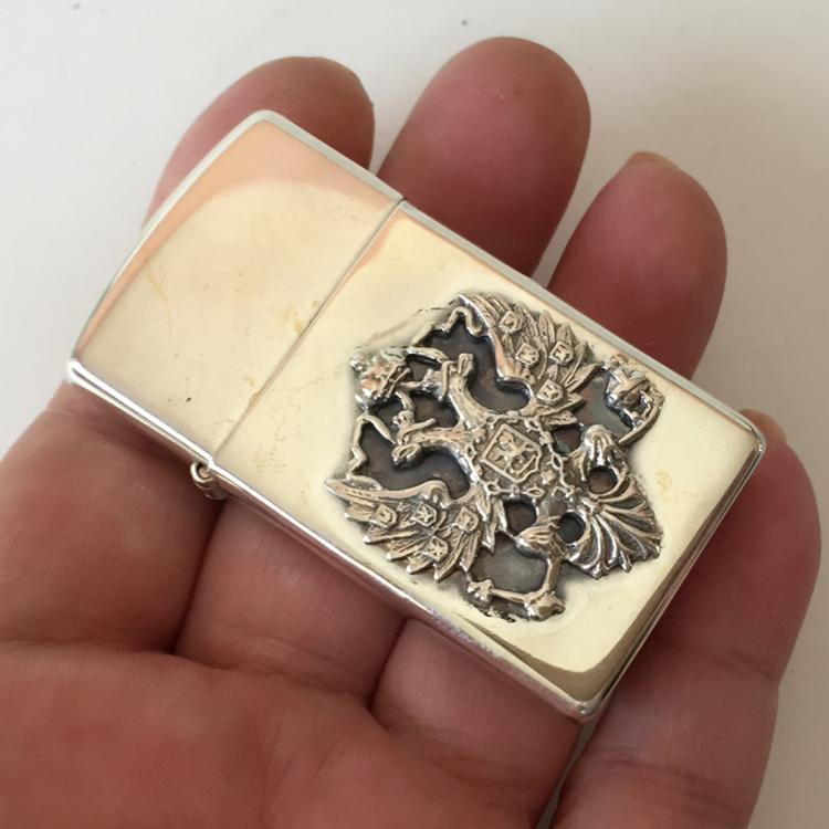 ZIPPO: Sterling silver rectangular shaped lighter embellished with RUSSIAN COAT OF ARMS from one side, signed