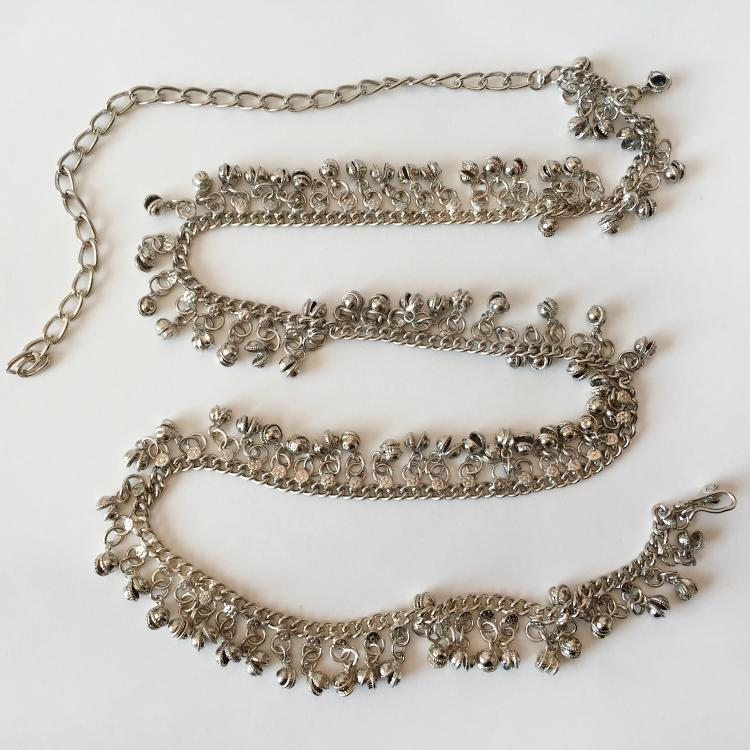 Silver tone Cuban link chain - belt with numerous dangling ringing bells - charms