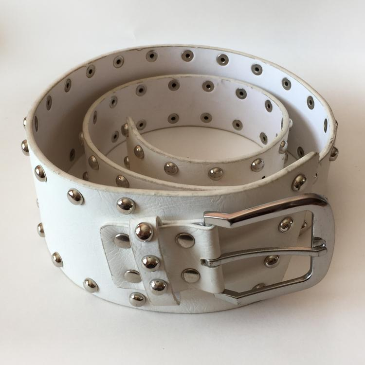 Ladies white manmade leather belt strap with 2 lines of silver tone metal rivets