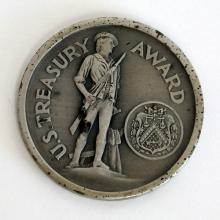 Vintage silver U.S. TREASURY AWARD for patriotic service 1941-1945 War Finance Collector's coin medal, signed to O.N.Reynolds