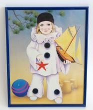 Wall decor -print of GIRL IN CLOWN COSTUME WITH SHIP TOY in black metal frame with glass