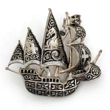 Vintage silver tone antique finish Damascene SHIP FRAGAT shaped brooch
