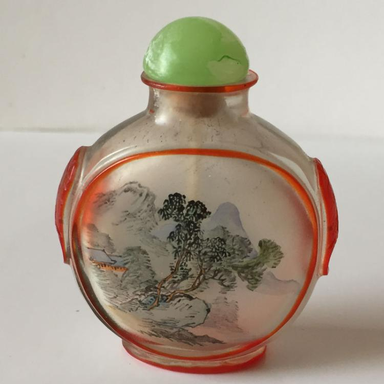 Oriental Collectibles: Vintage inside painted frosted glass snuff bottle with Jade stopper
