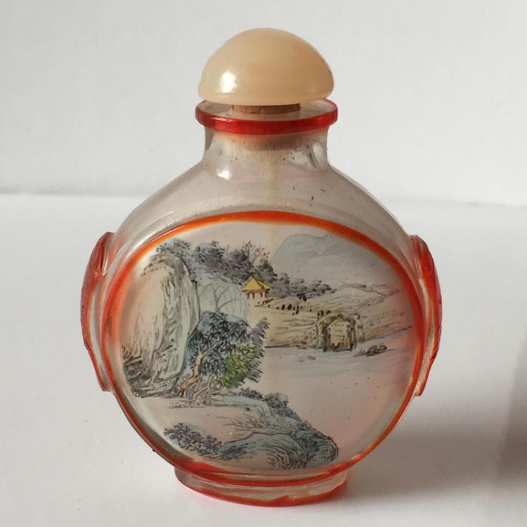 Oriental Collectibles: Vintage inside painted frosted glass snuff bottle with Rose Quartz stopper