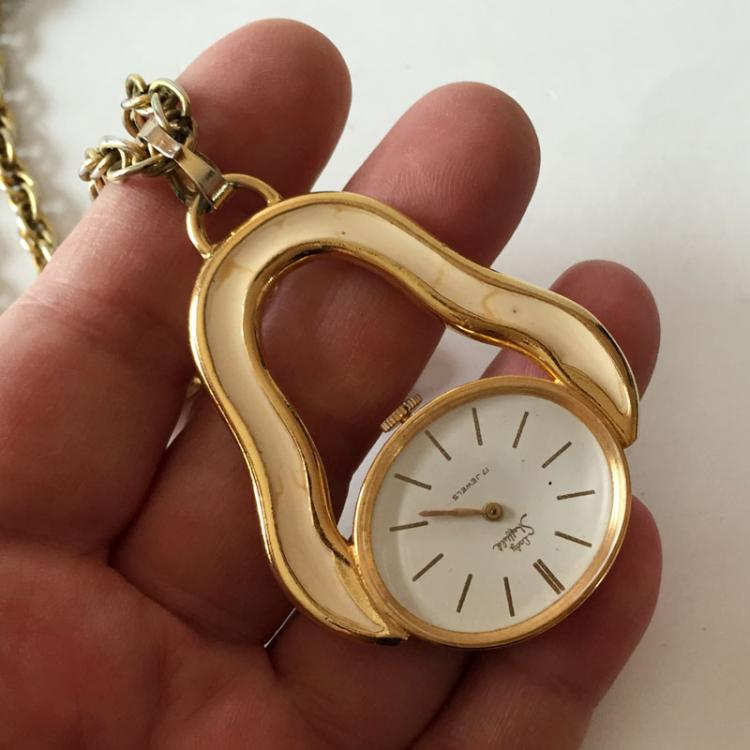 Vintage gold tone with enamel LADY SHEFFIELD 17 jewels oval watch-pendant with gold tone thick chain