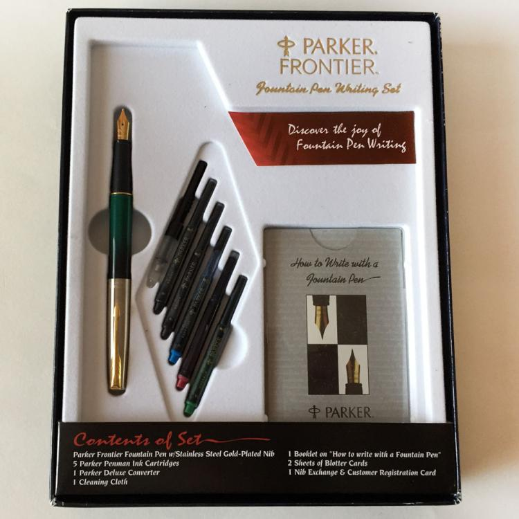 Parker Frontier Fountain Pen Writing Set Gold Plated Nib Vintage Product Vintage Colors