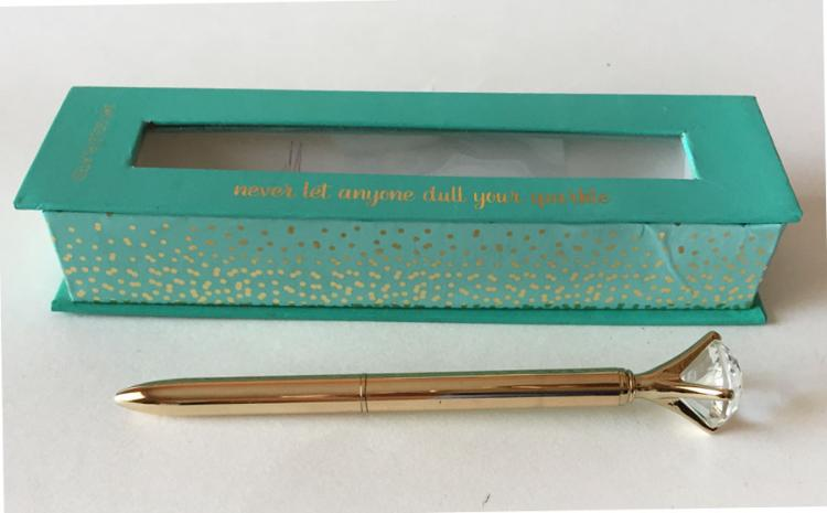 Gold Plated Ballpoint Pen with Crystal Diamond Top in original blue box