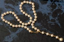 Round 5.7 mm Faux Pearl Choker / Necklace, knotted, 16