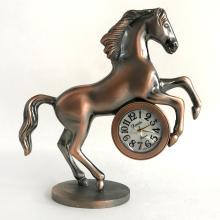 Antique color metal HORSE shaped HANADU quartz Japan movement watch clock