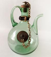 Vintage Italian green glass wine Decanter Pitcher ice chamber leather buckle chain