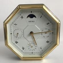 SEIKO Executive Desk Calendar Clock Gunmetal Brass Calendar Moon Phase Silver Grey QQZ272K Japan