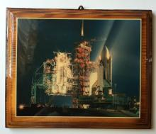 Color photo picture of shuttle COLUMBIA STS-1 dated on back 4/12/1981 glued on wooden plate and covered with thick colorless layer for protection