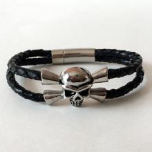2 rows braided genuine black leather men's bracelet embellished with black antique finish stainless steel SCULL