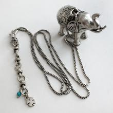 Silver tone heavy antique finish ELEPHANT figurine pendant with box chain