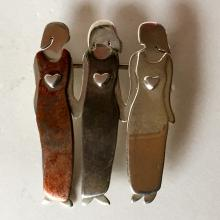 FAR FETCHED: Sterling silver 3 LADIES IN DRESSES shaped brooch, signed