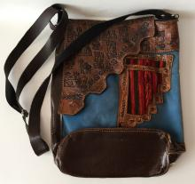 Brown leather with blue velvet bag embellished with Cactus, ALPACO, Mexican men...  with long adjustable man made leather handle