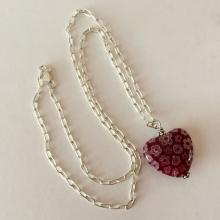 Sterling silver long links chain and Murano glass type HEART shape pendant