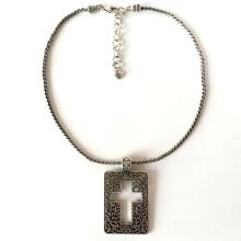BRIGHTON: Silver tone black antique finish twisted thick chain with lobster clasp and flat rectangular pendant with cross inside