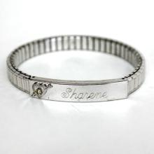 10k gold filled stretchable stainless steel bracelet with sterling silver heart embellishment on engraved SHARENE ID plate