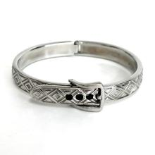 Stainless steel embellished bangle adjustable length bracelet with buckle