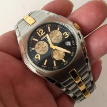 Vintage stainless steel matt and shiny finish CARRERA SPEED TIME Chrono Date Swiss men's watch and matching bracelet