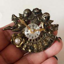 Bronze color antique finish brooch with 2 ANGLES ON CLOCK with white faux pearl and crystal