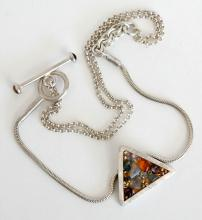 Sterling silver Rollo and snake chain with triangle shape pendant and toggle clasp with tiger eye cabochons hand made necklace