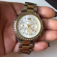 Stainless steel 2-tone round MICHAEL KORS Brinkley MK6188 Chrono Date Japan movement ladies watch with matching bracelet